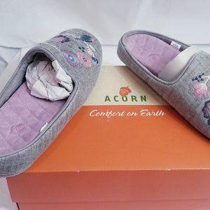 Gray Denim Embroidered Scuffs Slipper Bedroom shoe